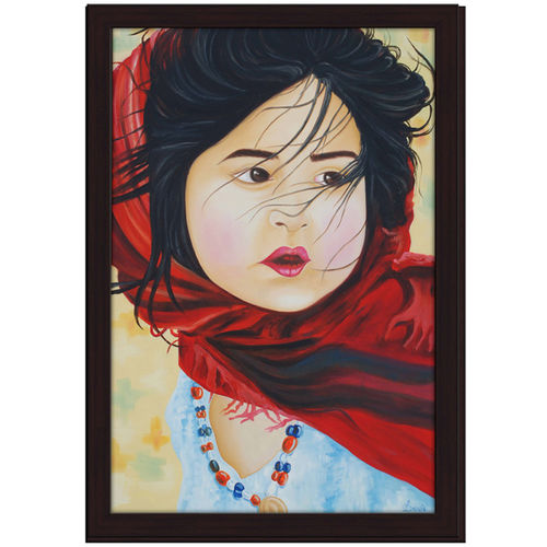 baby with red cloth, 24 x 36 inch, jyothi katkuri,paintings,portrait paintings,paintings for living room,paintings for bedroom,paintings for office,paintings for kids room,paintings for school,canvas,oil,24x36inch,GAL0659920013
