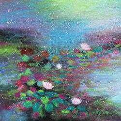 bliss !! waterlily pond !! inspired by monet, 10 x 8 inch, amita dand,paintings,flower paintings,paintings for dining room,paintings for living room,paintings for bedroom,paintings for office,paintings for bathroom,paintings for hotel,paintings for hospital,canvas board,acrylic color,10x8inch,GAL0146720014