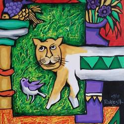 cat and sparrow , 18 x 20 inch, rakesh  verma ,paintings,modern art paintings,canvas board,acrylic color,18x20inch,GAL0998920015