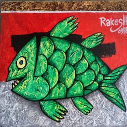 fish , 20 x 18 inch, rakesh  verma ,paintings,kids paintings,canvas board,acrylic color,20x18inch,GAL0998920017