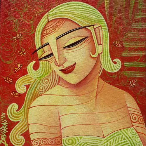 she, 8 x 10 inch, devirani dasgupta,figurative paintings,paintings for living room,paintings for office,vertical,canvas board,acrylic color,8x10inch,GAL03972002
