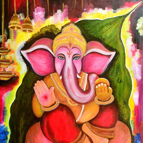 vighnaharta, 37 x 25 inch, sucharita nath,paintings,religious paintings,ganesha paintings,paintings for living room,paintings for bedroom,paintings for office,paintings for kids room,paintings for school,paintings for hospital,canvas,acrylic color,37x25inch,GAL0985020022,vinayak,ekadanta,ganpati,lambodar,peace,devotion,religious,lord ganesha,lordganpati,ganpati bappa morya,ganesh chaturthi,ganesh murti,elephant god,religious,lord ganesh,ganesha,om,hindu god,shiv parvati, putra,bhakti,blessings,aashirwad,pooja,puja,aarti,ekdant,vakratunda,lambodara,bhalchandra,gajanan,vinayak,prathamesh,vignesh,heramba,siddhivinayak,mahaganpati,omkar,mushak,mouse,ladoo,modak,shlok