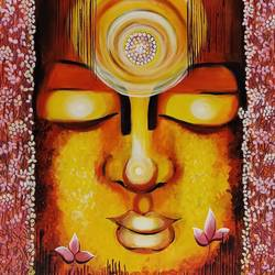 awakening consciousness, 30 x 30 inch, nitu chhajer,paintings,buddha paintings,canvas,acrylic color,30x30inch,religious,peace,meditation,meditating,gautam,goutam,buddha,lord,face,lotus,orange,GAL058220028