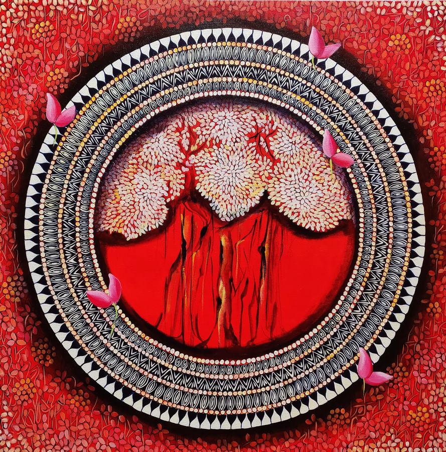 mandala - a  soul connection series 5, 30 x 30 inch, nitu chhajer,paintings,abstract paintings,canvas,acrylic color,30x30inch,GAL058220029