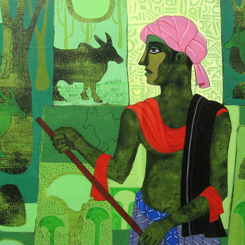 nature shephard, 26 x 16 inch, sunil chawdiker,figurative paintings,folk art paintings,animal paintings,paintings for dining room,paintings for living room,paintings for bedroom,paintings for office,paintings for bathroom,paintings for hotel,paintings for school,canvas,acrylic color,26x16inch,GAL0987320030