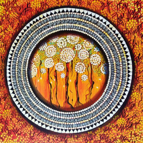 mandala - a  soul connection 6, 30 x 30 inch, nitu chhajer,paintings,abstract paintings,canvas,acrylic color,30x30inch,GAL058220031