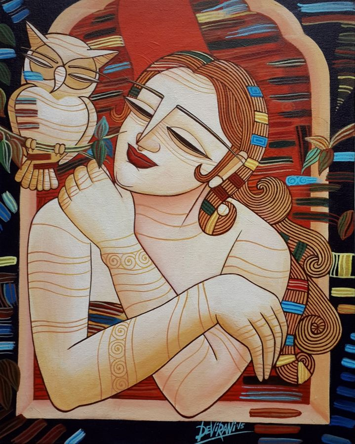 sleepless nights, 16 x 20 inch, devirani dasgupta,figurative paintings,paintings for living room,paintings for office,vertical,canvas board,acrylic color,16x20inch,GAL03972004