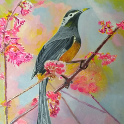 bird on cherry blossom tree, 10 x 12 inch, jugnu bakshi,paintings,wildlife paintings,flower paintings,nature paintings,paintings for dining room,paintings for living room,paintings for bedroom,paintings for office,paintings for hotel,paintings for school,paintings for hospital,ply board,oil,10x12inch,GAL0969320043Nature,environment,Beauty,scenery,greenery,bird,flower,sparrow,branch,pink flower,yellow