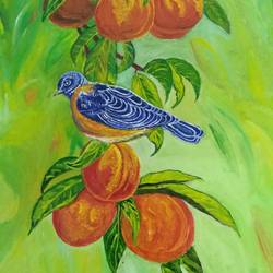 bird on an apple branch, 10 x 12 inch, jugnu bakshi,paintings,wildlife paintings,nature paintings,paintings for dining room,paintings for living room,paintings for bedroom,paintings for office,paintings for hotel,paintings for school,paintings for hospital,ply board,oil,10x12inch,GAL0969320044Nature,environment,Beauty,scenery,greenery
