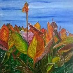 canna , 10 x 12 inch, jugnu bakshi,paintings,nature paintings,paintings for dining room,paintings for living room,paintings for bedroom,paintings for office,paintings for hotel,paintings for kitchen,paintings for school,paintings for hospital,ply board,oil,10x12inch,GAL0969320045Nature,environment,Beauty,scenery,greenery