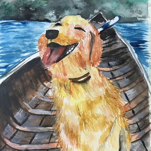 dog's cruise, 8 x 11 inch, nahid s,paintings,animal paintings,paintings for living room,paintings for living room,thick paper,watercolor,8x11inch,GAL01011520049