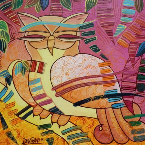 the owl, 12 x 12 inch, devirani dasgupta,figurative paintings,paintings for living room,paintings for office,animal paintings,vertical,canvas board,acrylic color,12x12inch,GAL03972005