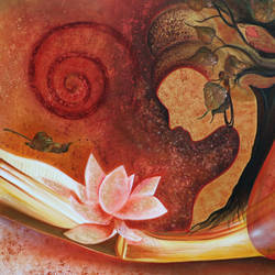 enlightenment, 48 x 36 inch, shivani mathur,paintings,buddha paintings,figurative paintings,religious paintings,contemporary paintings,paintings for dining room,paintings for living room,paintings for bedroom,paintings for office,paintings for hotel,paintings for school,paintings for hospital,canvas,acrylic color,mixed media,48x36inch,religious,peace,meditation,meditating,gautam,goutam,buddha,lord,modern art,lotus,red,GAL0982720057