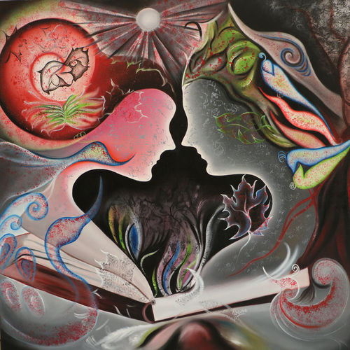 story of adam & eve, 40 x 40 inch, shivani mathur,paintings,wildlife paintings,figurative paintings,flower paintings,modern art paintings,nature paintings,animal paintings,contemporary paintings,love paintings,paintings for dining room,paintings for living room,paintings for bedroom,paintings for kids room,paintings for hotel,paintings for school,paintings for hospital,canvas,acrylic color,mixed media,oil,40x40inch,GAL0982720058heart,family,caring,happiness,forever,happy,trust,passion,romance,sweet,kiss,love,hugs,warm,fun,kisses,joy,friendship,marriage,chocolate,husband,wife,forever,caring,couple,sweetheartNature,environment,Beauty,scenery,greenery