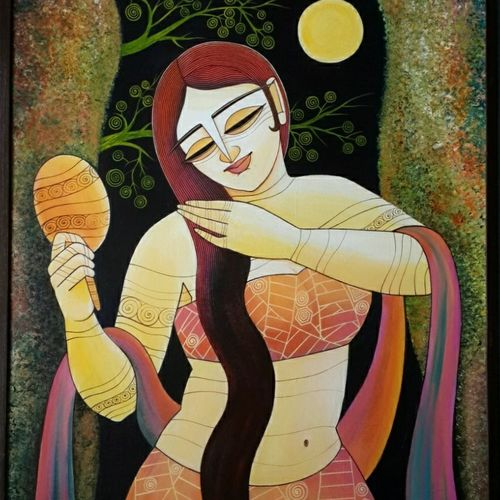 beauty - lies in the eyes of beholder, 28 x 36 inch, devirani dasgupta,figurative paintings,paintings for living room,paintings for office,vertical,canvas board,acrylic color,28x36inch,GAL03972007