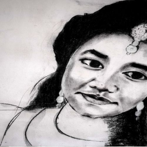 radha, 50 x 30 inch, narayan tanawade,drawings,portrait drawings,paintings for dining room,paintings for living room,paintings for bedroom,paintings for office,paintings for kids room,paintings for hotel,paintings for kitchen,paintings for school,paintings for hospital,canvas,pencil color,50x30inch,GAL01012520071