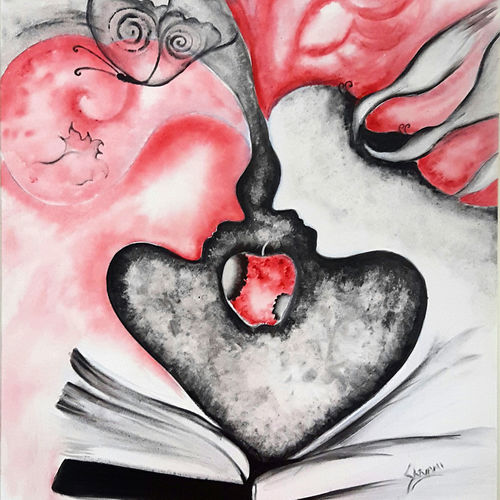 story of adam & eve 2, 24 x 28 inch, shivani mathur,paintings,wildlife paintings,figurative paintings,flower paintings,modern art paintings,contemporary paintings,love paintings,paintings for dining room,paintings for living room,paintings for bedroom,paintings for kids room,paintings for hotel,paintings for school,paintings for hospital,canvas,acrylic color,mixed media,24x28inch,GAL0982720074heart,family,caring,happiness,forever,happy,trust,passion,romance,sweet,kiss,love,hugs,warm,fun,kisses,joy,friendship,marriage,chocolate,husband,wife,forever,caring,couple,sweetheart
