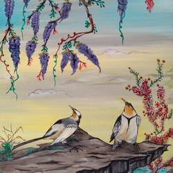 birds, 18 x 24 inch, abha dubey,paintings,nature paintings,paintings for bedroom,paintings for bedroom,canvas,oil,18x24inch,nature,landscape,birds,flowers,GAL01013420075Nature,environment,Beauty,scenery,greenery