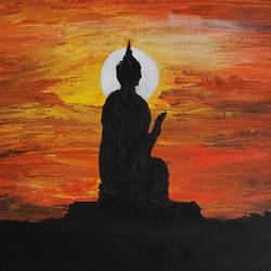 buddha, 20 x 24 inch, shanthi srinivasan,paintings,buddha paintings,paintings for living room,paintings for living room,canvas board,acrylic color,20x24inch,religious,peace,meditation,meditating,gautam,goutam,buddha,buddha shadow,sun,black and orange,GAL01006020076