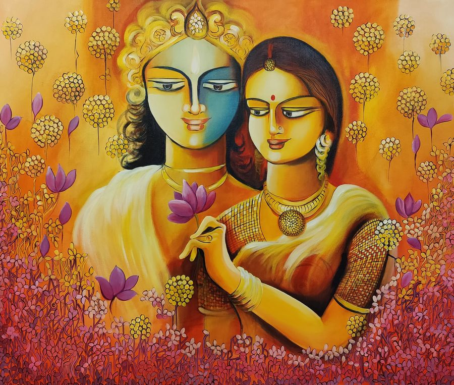 marriage - a way of rising consciousness., 36 x 30 inch, nitu chhajer,paintings,love paintings,canvas,acrylic color,36x30inch,GAL058220077heart,family,caring,happiness,forever,happy,trust,passion,romance,sweet,kiss,love,hugs,warm,fun,kisses,joy,friendship,marriage,chocolate,husband,wife,forever,caring,couple,sweetheart