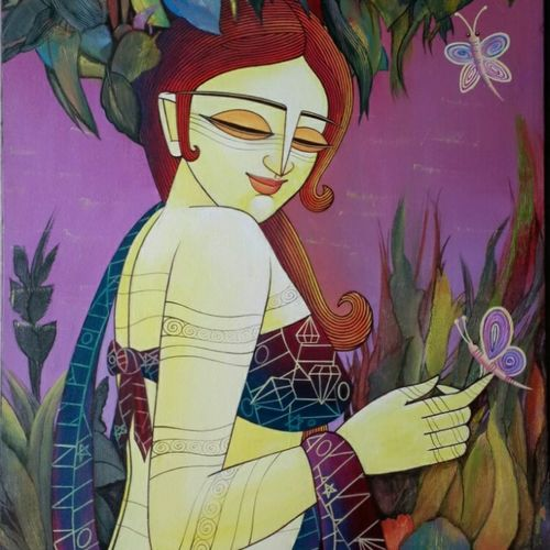 celestial beauty, 20 x 30 inch, devirani dasgupta,figurative paintings,paintings for living room,paintings for office,vertical,canvas,acrylic color,20x30inch,GAL03972008