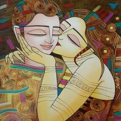 kiss, 21 x 29 inch, devirani dasgupta,figurative paintings,paintings for living room,paintings for office,love paintings,vertical,canvas board,acrylic color,21x29inch,GAL03972009heart,family,caring,happiness,forever,happy,trust,passion,romance,sweet,kiss,love,hugs,warm,fun,kisses,joy,friendship,marriage,chocolate,husband,wife,forever,caring,couple,sweetheart
