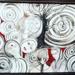 life, 29 x 24 inch, anju soni singh,paintings,abstract paintings,canvas,acrylic color,charcoal,29x24inch,GAL01015520098