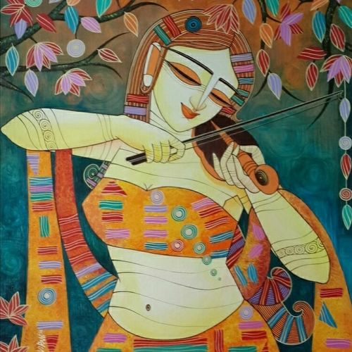 queen of melody, 27 x 35 inch, devirani dasgupta,figurative paintings,paintings for living room,paintings for office,vertical,canvas board,acrylic color,27x35inch,GAL03972010