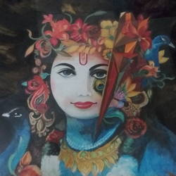 mohan, 30 x 22 inch, anju soni singh,religious paintings,paintings for living room,canvas,acrylic color,30x22inch,GAL01015520100