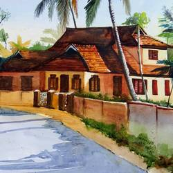 traditional house, 21 x 14 inch, vivek anand,paintings,landscape paintings,canson paper,watercolor,21x14inch,GAL0366020101