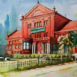 state central library, bangalore, 19 x 13 inch, vivek anand,paintings,landscape paintings,fabriano sheet,watercolor,19x13inch,GAL0366020102