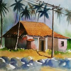 beach house, 20 x 14 inch, vivek anand,paintings,landscape paintings,handmade paper,watercolor,20x14inch,GAL0366020104