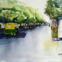 bangalore roads, 20 x 14 inch, vivek anand,paintings,landscape paintings,handmade paper,watercolor,20x14inch,GAL0366020105