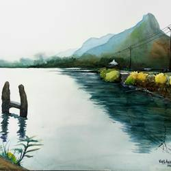 late evening scene at pond side, 22 x 15 inch, vivek anand,paintings,landscape paintings,fabriano sheet,watercolor,22x15inch,GAL0366020106