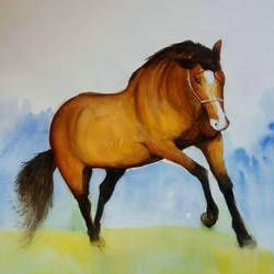 the horse, 28 x 20 inch, vivek anand,paintings,landscape paintings,fabriano sheet,watercolor,28x20inch,GAL0366020107
