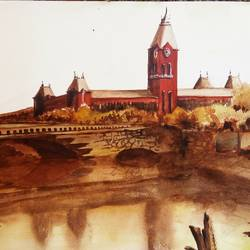 madras central at 1880, 21 x 14 inch, vivek anand,paintings,landscape paintings,fabriano sheet,watercolor,21x14inch,GAL0366020109