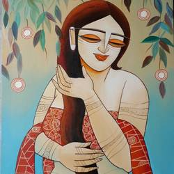 shringaar, 20 x 30 inch, devirani dasgupta,figurative paintings,paintings for living room,paintings for office,vertical,canvas,acrylic color,20x30inch,GAL03972011