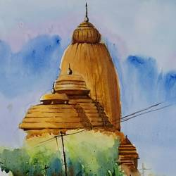 jagannatha temple- bengaluru, 21 x 14 inch, vivek anand,paintings,landscape paintings,canson paper,watercolor,21x14inch,GAL0366020110