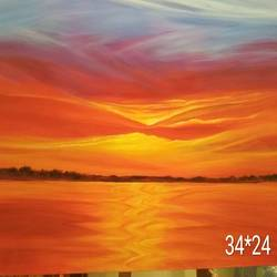 sunset, 34 x 24 inch, anita hasurkar,paintings,landscape paintings,paintings for living room,paintings for office,paintings for living room,paintings for office,impressionist paintings,contemporary paintings,paintings for dining room,paintings for bedroom,paintings for hotel,paintings for hospital,canvas,acrylic color,34x24inch,GAL01016120120