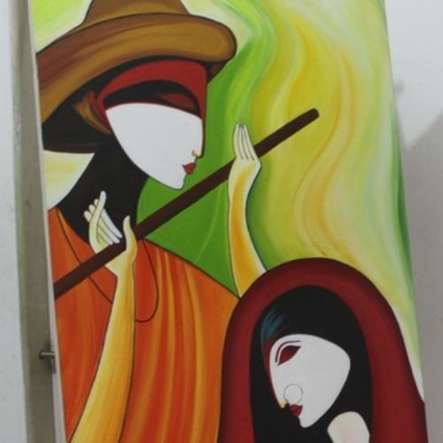 radha krishna, 22 x 36 inch, anita hasurkar,paintings,figurative paintings,radha krishna paintings,paintings for dining room,paintings for living room,paintings for dining room,paintings for living room,conceptual paintings,paintings for bedroom,canvas,acrylic color,22x36inch,GAL01016120123,radhakrishna,love,pece,lordkrishna,,lordradha,peace,flute,music,radha,krishna,devotion,couple