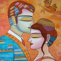 kiss -2, 24 x 36 inch, devirani dasgupta,figurative paintings,paintings for living room,paintings for office,love paintings,vertical,canvas,acrylic color,24x36inch,GAL03972013heart,family,caring,happiness,forever,happy,trust,passion,romance,sweet,kiss,love,hugs,warm,fun,kisses,joy,friendship,marriage,chocolate,husband,wife,forever,caring,couple,sweetheart