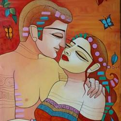 do not leave me, 24 x 36 inch, devirani dasgupta,figurative paintings,paintings for living room,paintings for office,vertical,canvas,acrylic color,24x36inch,GAL03972015