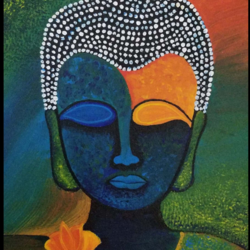 buddha painting, 8 x 12 inch, khushbu kalaria,buddha paintings,paintings for dining room,paintings for living room,paintings for bedroom,paintings for office,paintings for kids room,paintings for hotel,paintings for school,paintings for hospital,canvas board,acrylic color,8x12inch,religious,peace,meditation,meditating,gautam,goutam,buddha,lord,modern art,colourful,flower,GAL01017020150