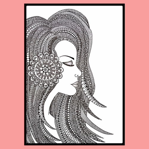 doodle girl art, 9 x 14 inch, khushbu kalaria,drawings,conceptual drawings,illustration drawings,modern drawings,paintings for dining room,paintings for living room,paintings for bedroom,paintings for office,paintings for kids room,paintings for hotel,paintings for school,paintings for hospital,canvas,ink color,ball point pen,graphite pencil,9x14inch,GAL01017020154