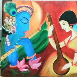 meera krishna, 24 x 18 inch, sucharita nath,paintings,figurative paintings,conceptual paintings,religious paintings,paintings for dining room,paintings for living room,paintings for bedroom,paintings for hotel,canvas,acrylic color,24x18inch,GAL0985020162