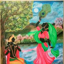 dancing radha , 24 x 30 inch, sucharita nath,paintings,figurative paintings,religious paintings,radha krishna paintings,paintings for dining room,paintings for living room,paintings for bedroom,paintings for hotel,canvas,acrylic color,24x30inch,GAL0985020163,radhakrishna,love,pece,lordkrishna,,lordradha,peace,flute,music,radha,krishna,devotion,couple,dance