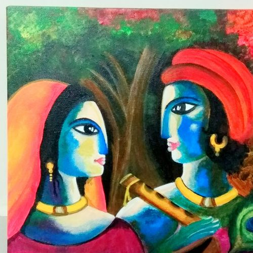 abstract radha krishna, 12 x 12 inch, sucharita nath,paintings,abstract paintings,modern art paintings,religious paintings,radha krishna paintings,paintings for dining room,paintings for living room,paintings for bedroom,paintings for office,paintings for hotel,paintings for hospital,canvas,acrylic color,12x12inch,GAL0985020164,radhakrishna,love,pece,lordkrishna,,lordradha,peace,flute,music,radha,krishna,devotion,couple
