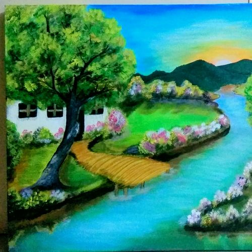 natures beauty, 24 x 18 inch, sucharita nath,paintings,nature paintings,paintings for dining room,paintings for living room,paintings for office,paintings for kids room,paintings for hotel,paintings for school,paintings for hospital,canvas,acrylic color,24x18inch,GAL0985020167Nature,environment,Beauty,scenery,greenery