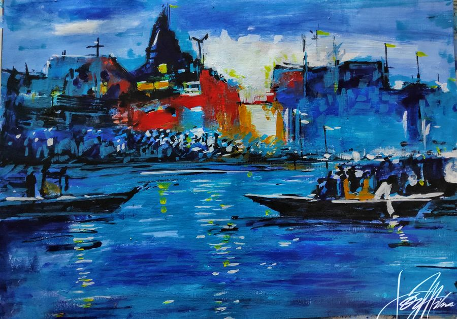 benaras eternity 2, 17 x 12 inch, joydeep mitra,paintings,modern art paintings,abstract expressionist paintings,art deco paintings,paintings for dining room,paintings for living room,oil sheet,acrylic color,17x12inch,GAL0768320169