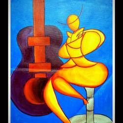 bar singer, 12 x 18 inch, rajni  a,paintings,abstract paintings,modern art paintings,cubist paintings,impressionist paintings,surrealist paintings,contemporary paintings,paintings for dining room,paintings for living room,paintings for hotel,canvas,acrylic color,12x18inch,GAL084020172